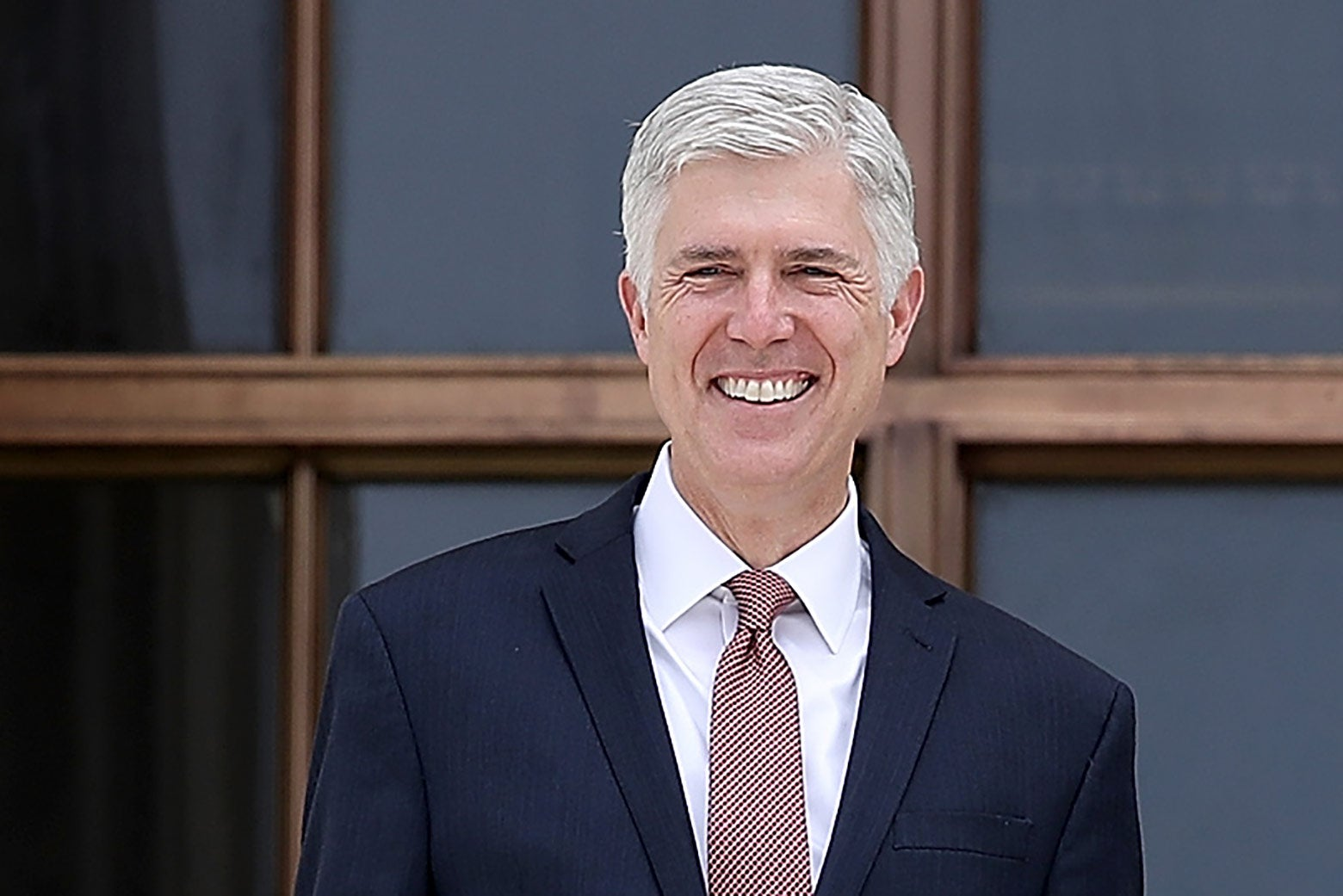 Neil Gorsuch on the steps of the Supreme Court following his official investiture at the court on June 15 in Washington.