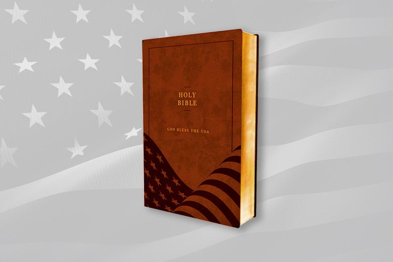 """A bible with a brown cover featuring the words """"God Bless the USA"""" and an American flag, floating over an American flag backdrop."""