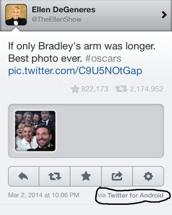 Ellen Degeneres selfie tweet
