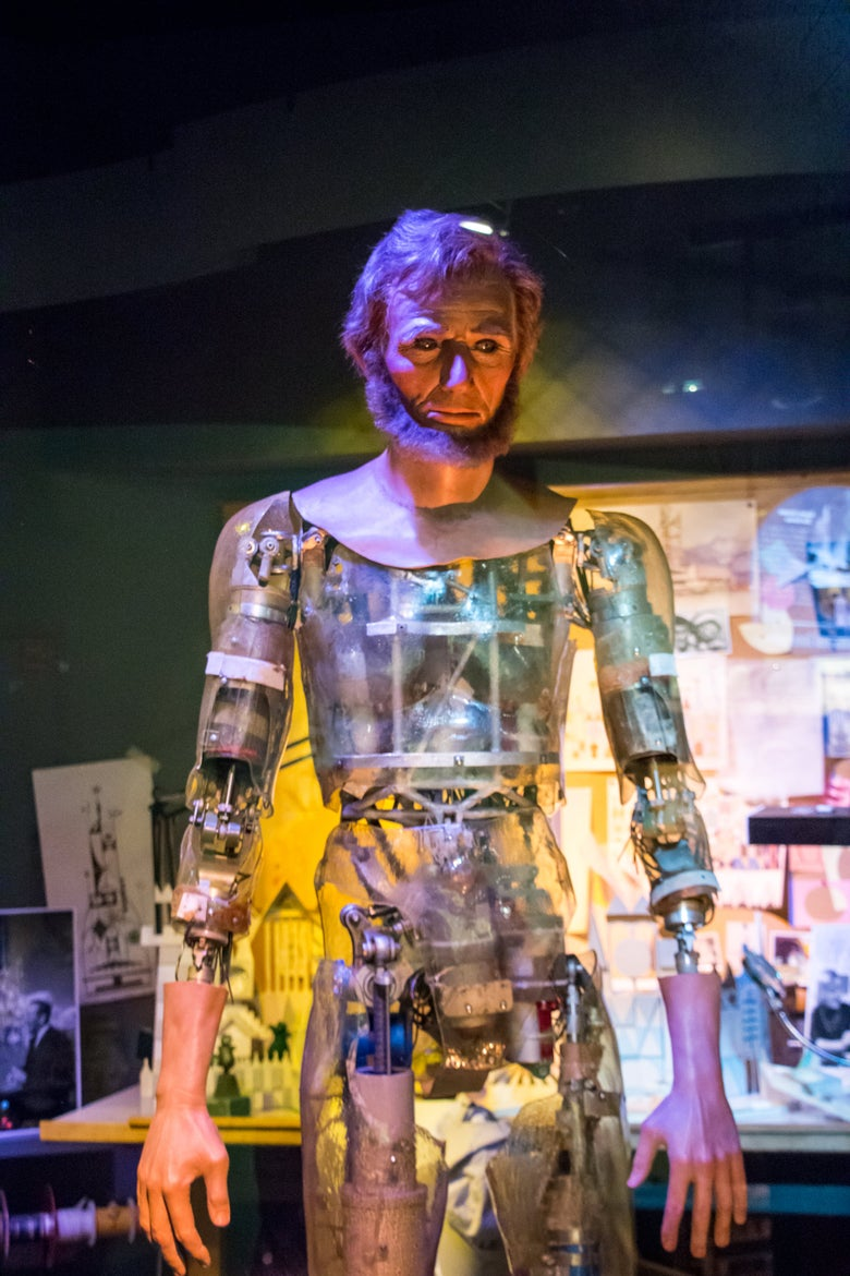 The Mr. Lincoln robot from Great Moments With Mr. Lincoln, undressed, showing transparent skin and lots of internal mechanics.