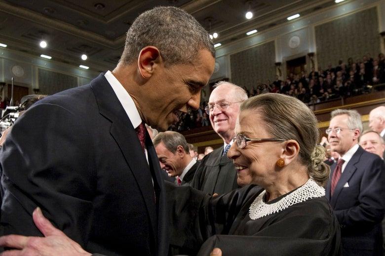 President Barack Obama greets Supreme Court Justice Ruth Bader Ginsburg.