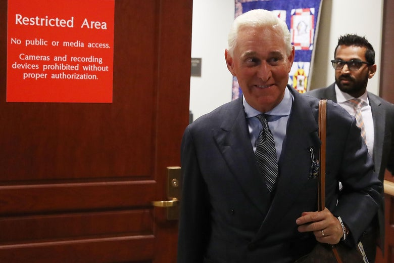 Roger Stone walks out of the House Intelligence Committee closed door hearing, September 26, 2017 in Washington, D.C.