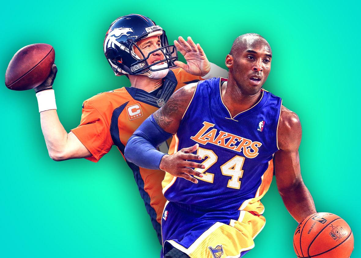 Peyton Manning, left, #18 of the Denver Broncos and Kobe Bryant ,Peyton Manning, left, #18 of the Denver Broncos and Kobe Bryant #24 of the Los Angeles Lakers.