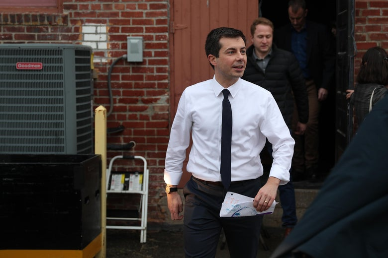 CENTERVILLE, IOWA - DECEMBER 29: Democratic presidential candidate South Bend, Indiana Mayor Pete Buttigieg leaves after holding a campaign event at the Majestic Theater on December 29, 2019 in Centerville, Iowa. The 2020 Iowa Democratic caucuses will take place on February 3, 2020, making it the first nominating contest for the Democratic Party in choosing their presidential candidate to face Donald Trump in the 2020 election.  (Photo by Joe Raedle/Getty Images)