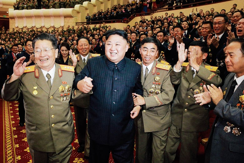Kim Jong-Un attends an art performance dedicated to nuclear scientists and technicians at the People's Theatre in Pyongyang, North Korea.