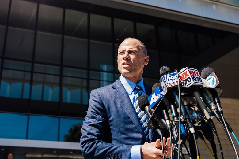 Michael Avenatti speaks to media in front of a Los Angeles courthouse.