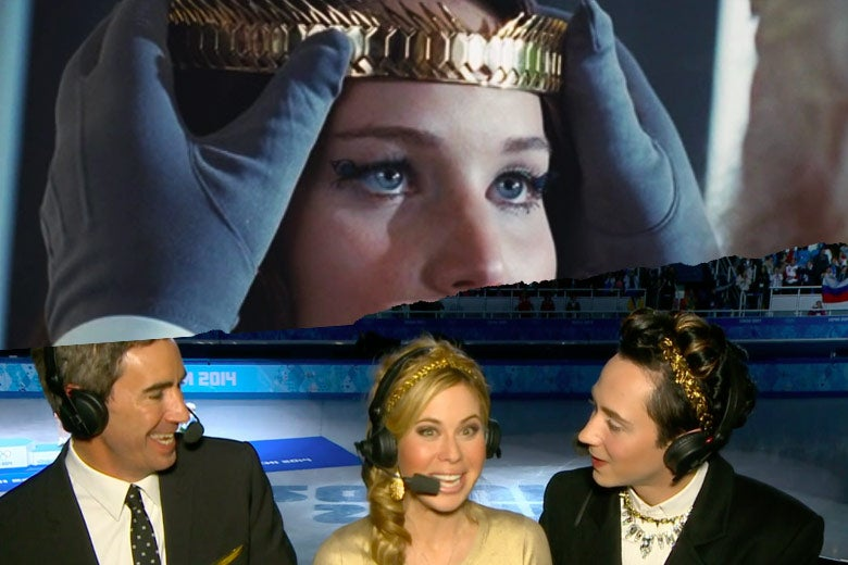 Top: Jennifer Lawrence as Katniss Everdeen wears a gold laurel crown. Bottom: Weir wears a similar crown while holding an NBC microphone.