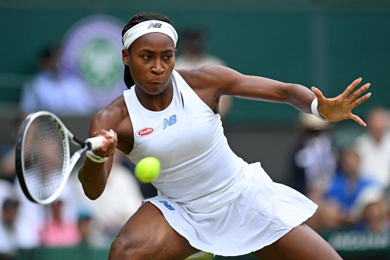 U.S. player Coco Gauff returns against Germany's Angelique Kerber during their women's singles fourth round match on the seventh day of the 2021 Wimbledon Championships at The All England Tennis Club in Wimbledon, southwest London, on July 5, 2021.