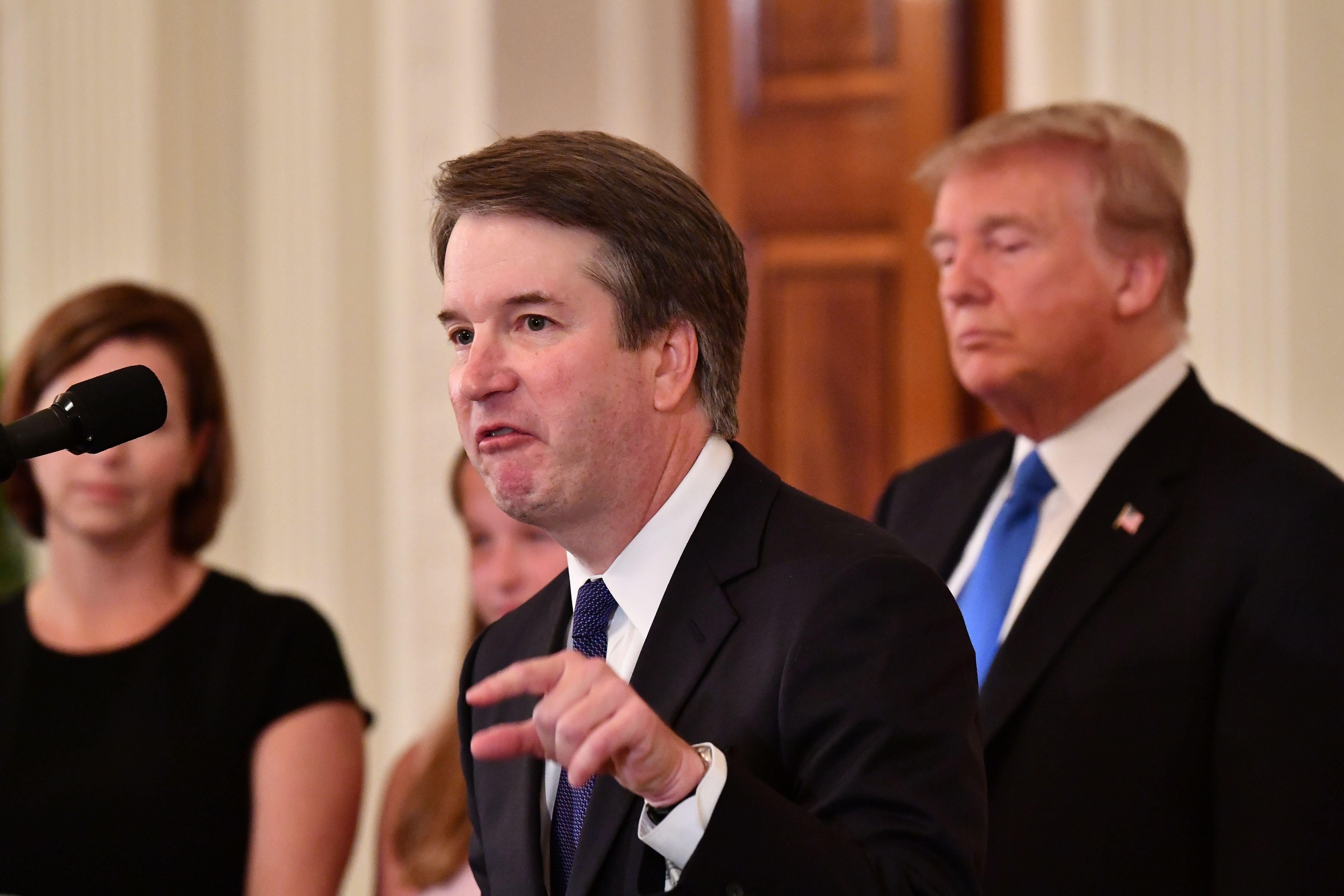 Supreme Court nominee Brett Kavanaugh speaks after US President Donald Trump announced his nomination in the East Room of the White House on July 9, 2018 in Washington, DC. (Photo by MANDEL NGAN / AFP)        (Photo credit should read MANDEL NGAN/AFP/Getty Images)
