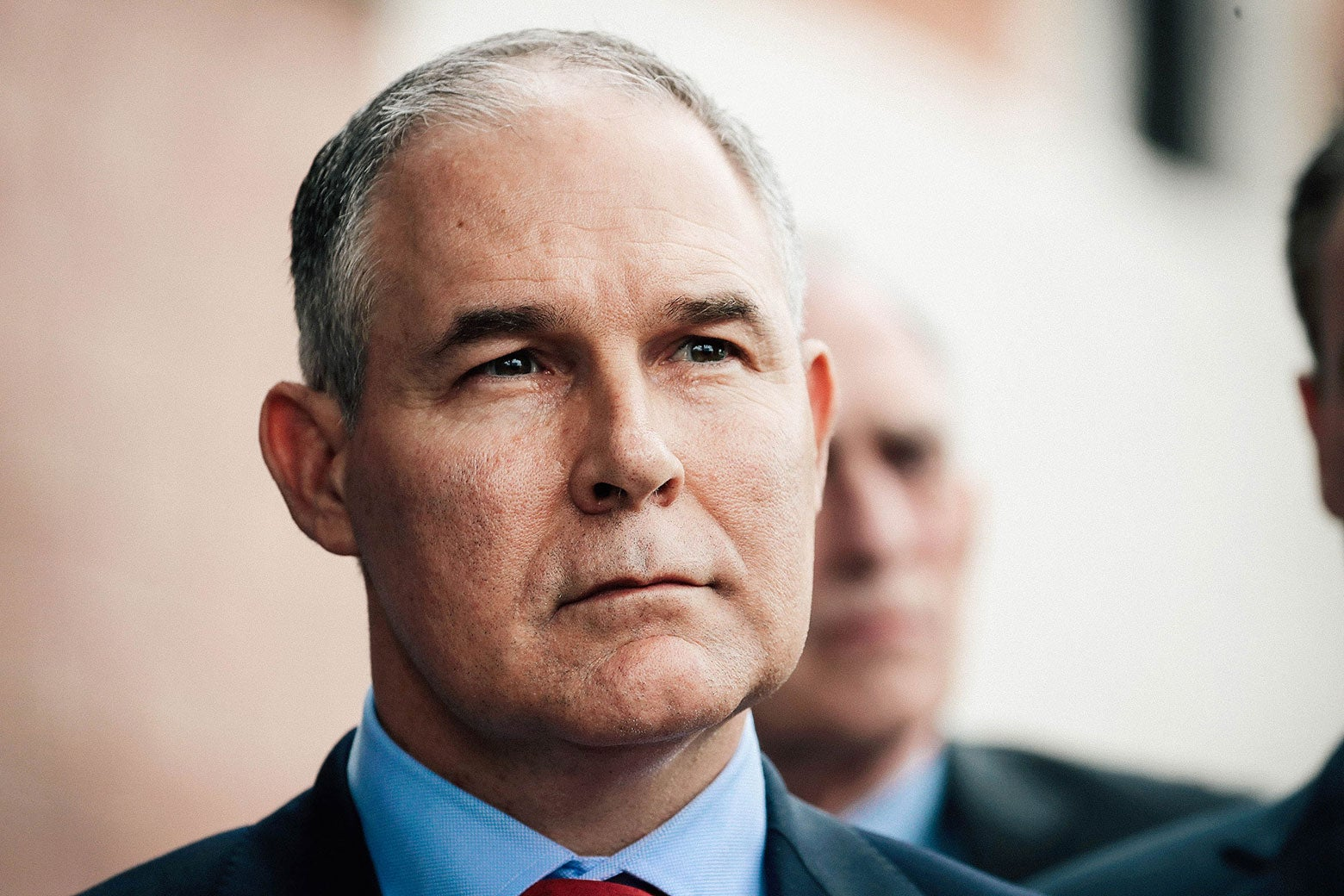 Scott Pruitt makes a statement to the media on April 19, 2017, in East Chicago, Indiana.
