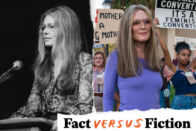 A black-and-white photo of Gloria Steinem is seen side by side with a scene of a fictional portrayal of her in The Glorias.
