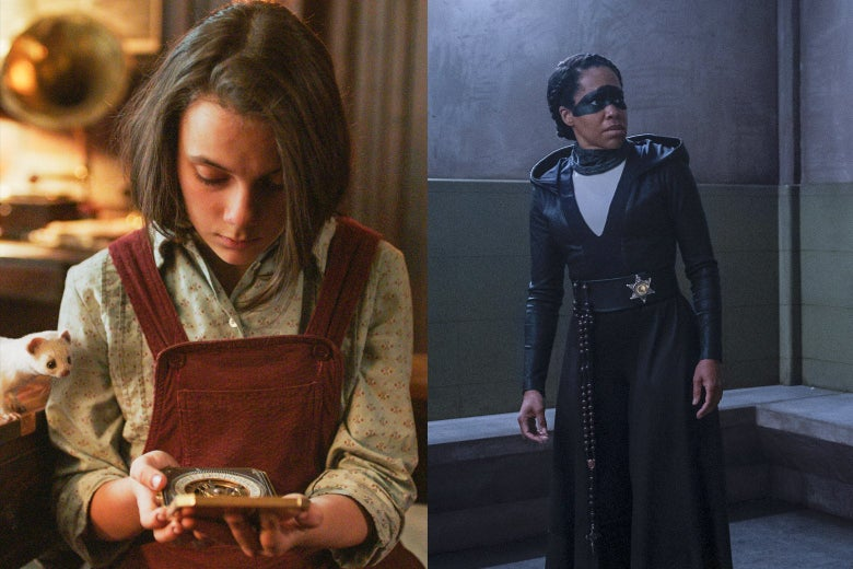 Side-by-side photo illustration of Dafne Keen as Lyra Belacqua reading a tool in His Dark Materials, and Regina King in her Sister Night regalia on Watchmen.