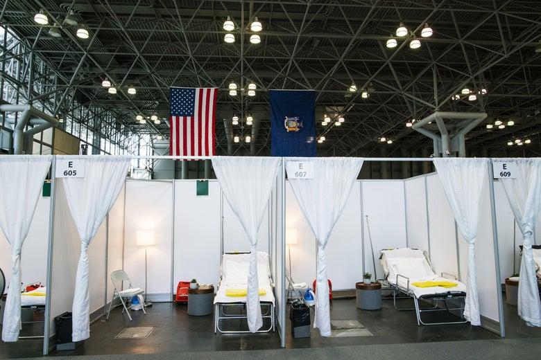 Hospital bed booths at the Javits Convention Center in New York City, which the military temporarily turned into a hospital to help fight coronavirus cases.