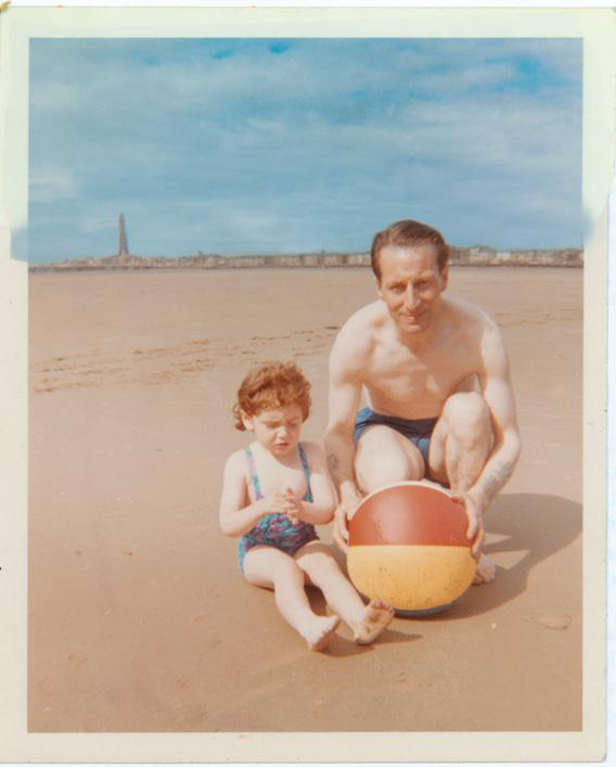 Jeanette Winterson and her adoptive father on the beach in Blackpool