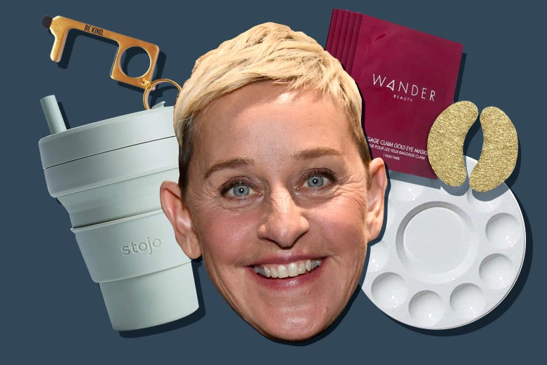 A cutout of Ellen DeGeneres' head floats next to a collapsible travel mug, a plastic painting palette, a set of eye masks and a brass hygiene key.