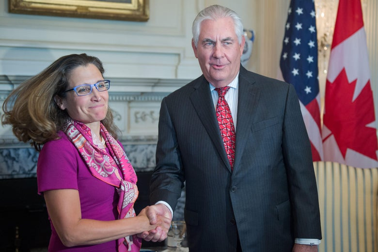 Canadian Minister of Foreign Affairs Chrystia Freeland shakes hands with U.S. Secretary of State Rex Tillerson.
