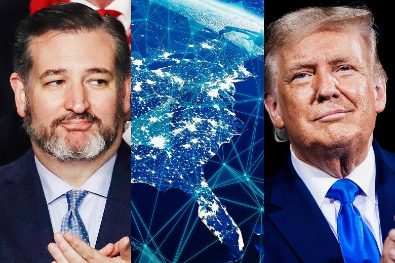 Ted Cruz, Donald Trump and a visualization of the internet over the United States.