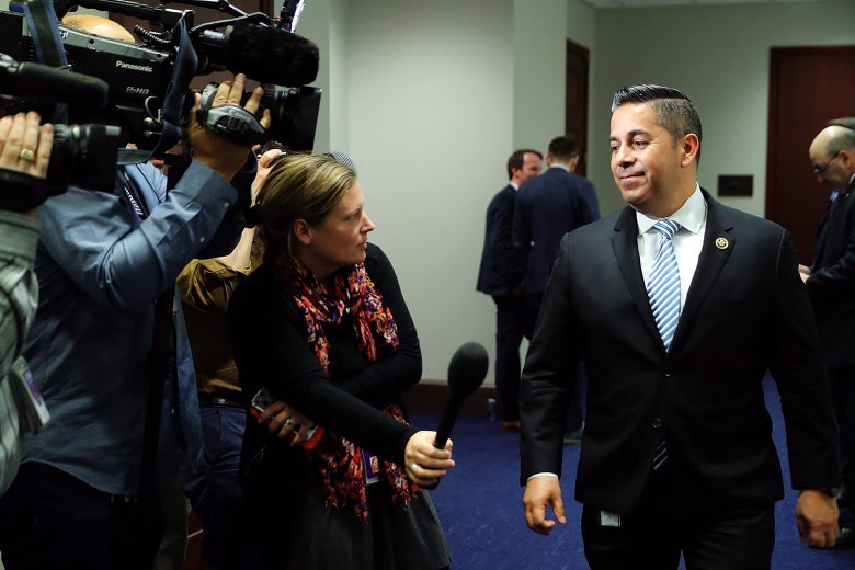New Mexico Rep. Ben Ray Lujan talks to reporters as he leaves a House Democratic Caucus meeting at the U.S. Capitol Feb. 8 in Washington.