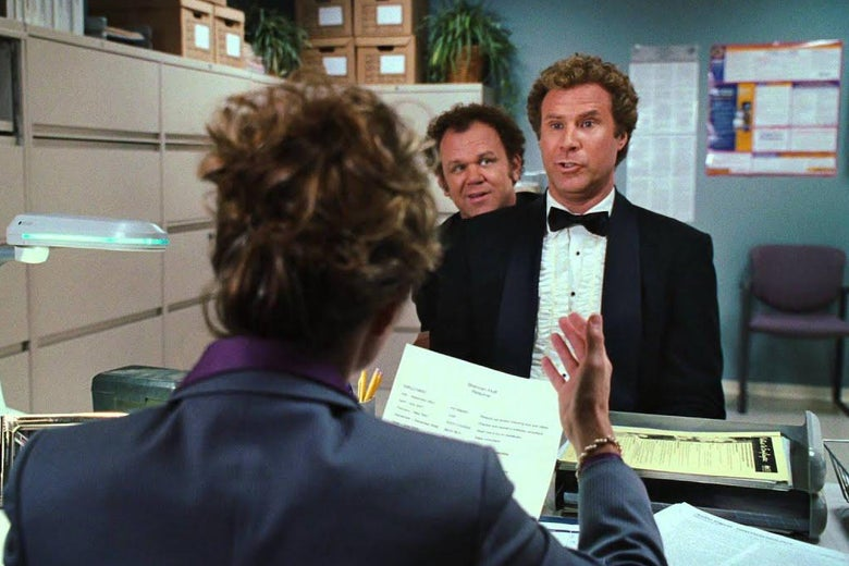 Will Ferrell and John C. Reilly wear tuxedos in a waiting room.