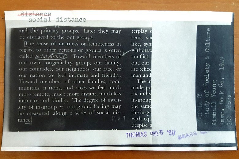 "A clipping showing a definition for ""social distance."""