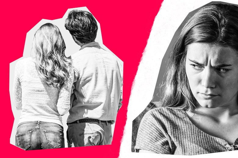Photo collage of a couple and a woman glaring at them behind their backs.
