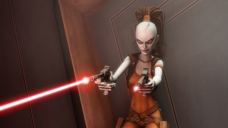 A 3D animated character with chalk-white skin and an antennae sticking out her head. She holds two blaster guns firing red lasers.