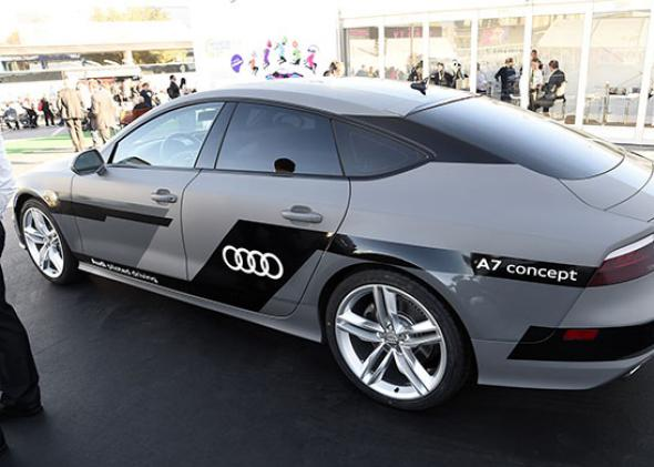 The Audi autonomous A7 concept car is displayed January 6, 2015 at the Consumer Electronics Show in Las Vegas, Nevada.