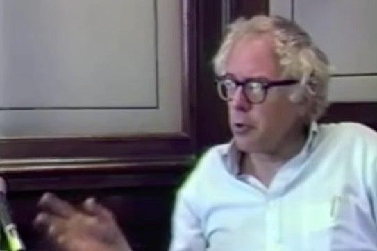 Screenshot of video of Bernie Sanders speaking in 1987.