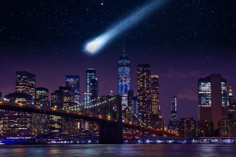 An asteroid hurtling toward Manhattan at night.