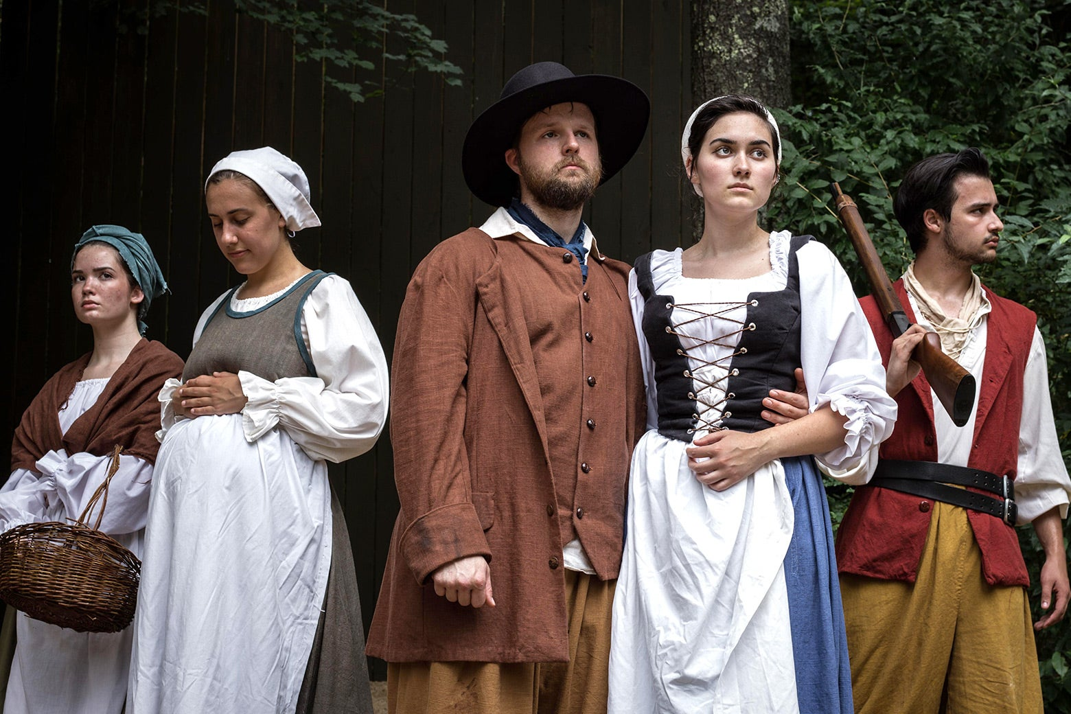 The cast of From This Day Forward, dressed in colonial-era garb.