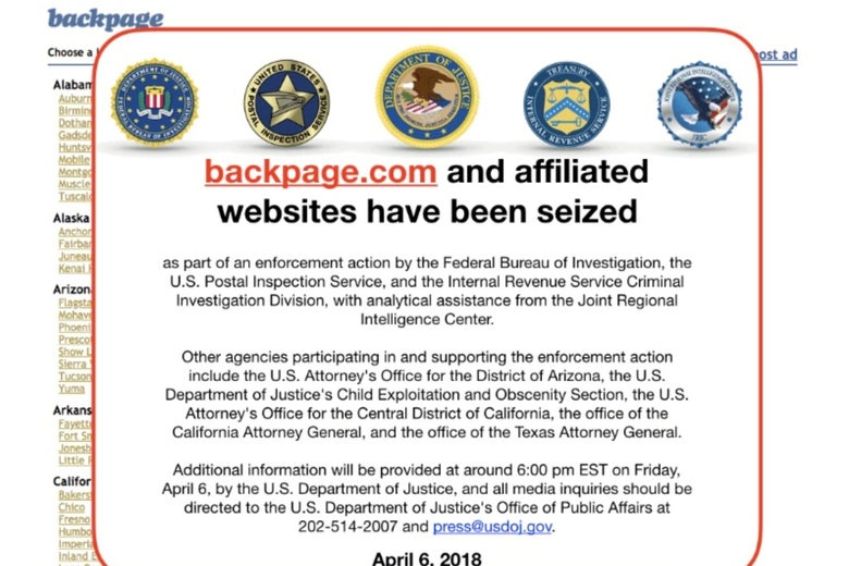 An image of the current home page of the website backpage.com shows logos of U.S. law enforcement agencies after they seized the sex marketplace site April 6, 2018.