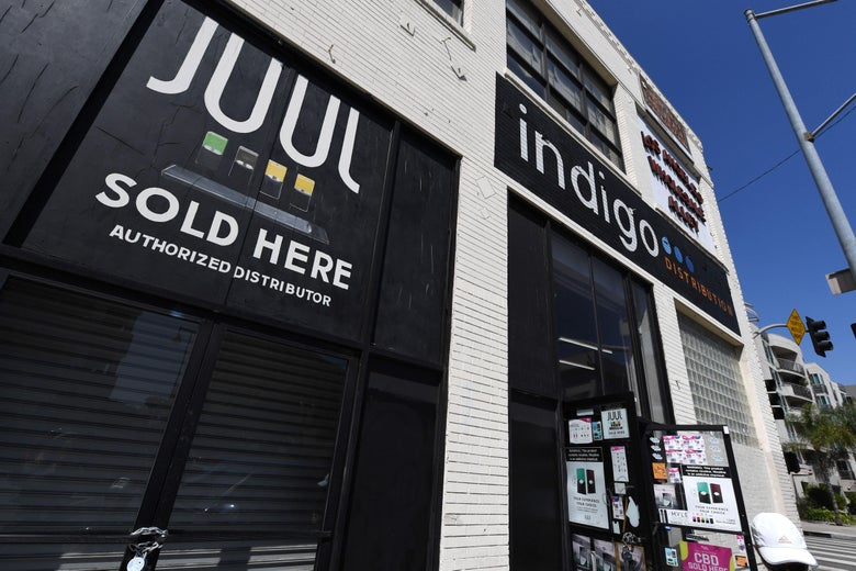 A sign advertises Juul vaping products in Los Angeles.