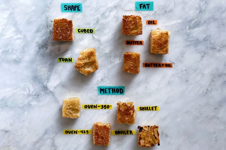 Nine croutons labeled by cooking method, spread out on a marble surface