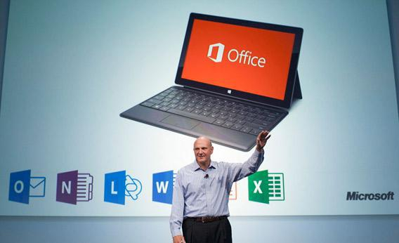Microsoft CEO Steve Ballmer unveils the customer preview of the new Microsoft Office.