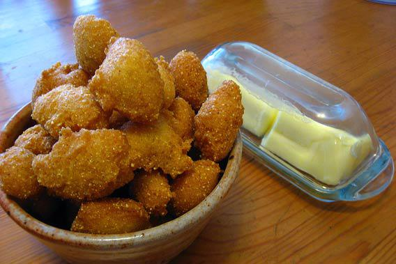 Hushpuppies and butter.