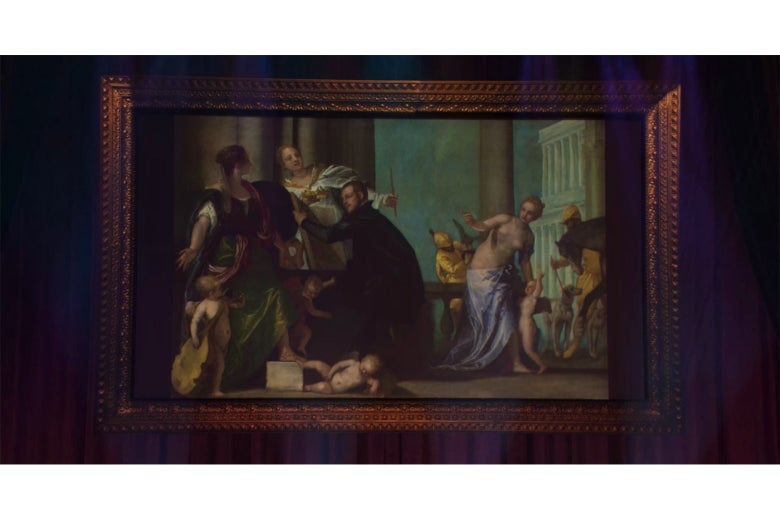 A painting showing a man in black being beckoned on either side by women.
