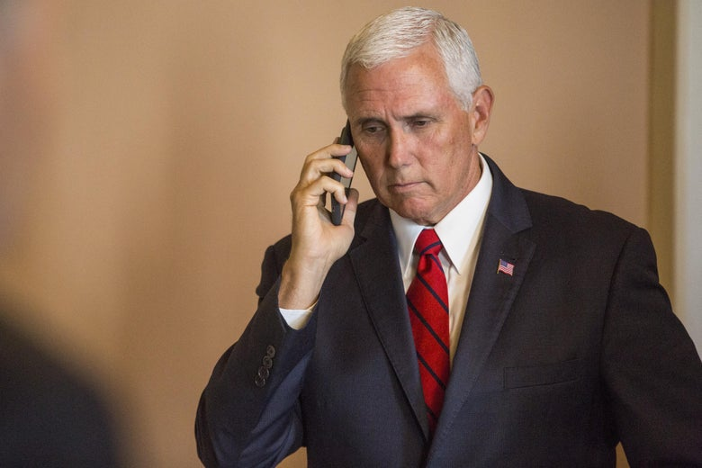Vice President Mike Pence takes a phone call on Capitol Hill on September 5, 2018 in Washington, D.C.