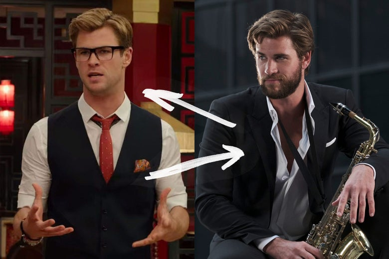 Side-by-side stills of Chris Hemsworth in Ghostbusters, wearing glasses, a tie, and vest, and Liam Hemsworth in Isn't It Romantic, wearing a suit with a saxophone. They look a lot alike.