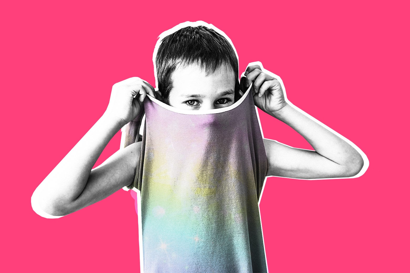 Child removing a dress by pulling it over their head, against a pink background.