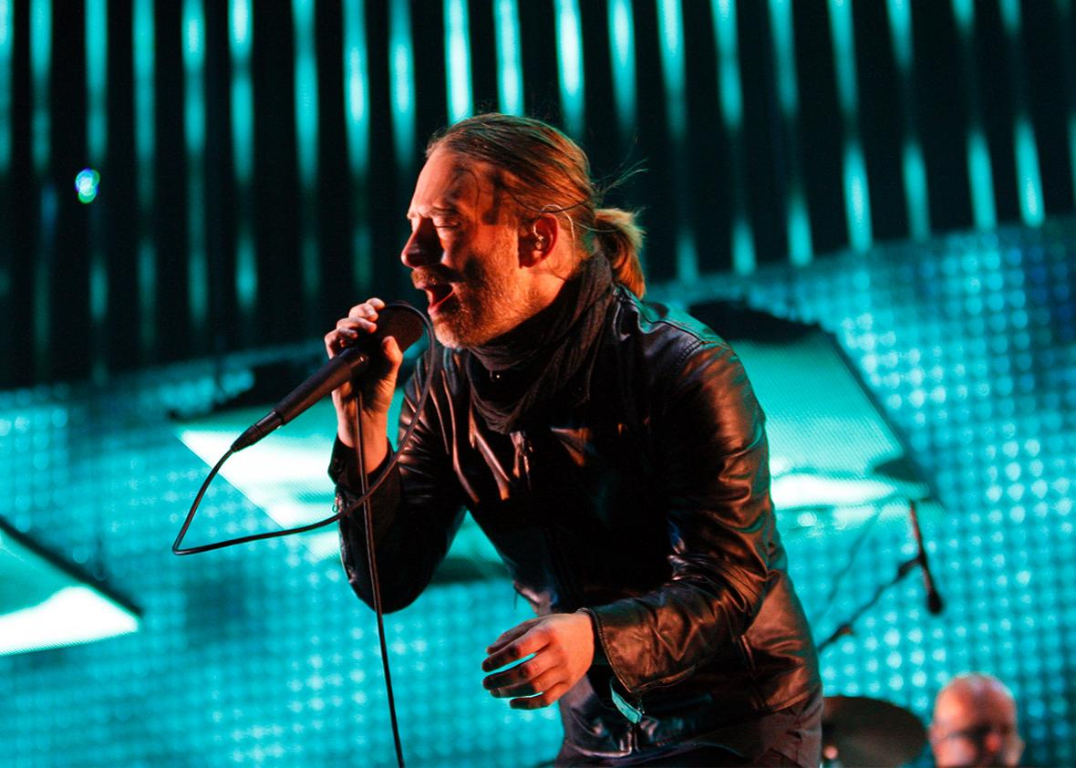 Thom Yorke performs with Radiohead at the Coachella Valley Music and Arts Festival in Indio, California April 14, 2012.