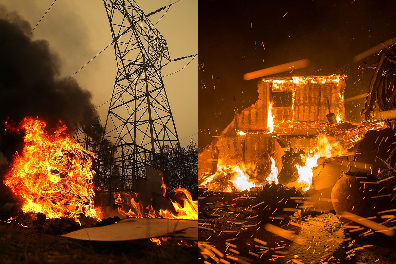 On the left, a fire burns by power lines, and on the left, fire burns structures.