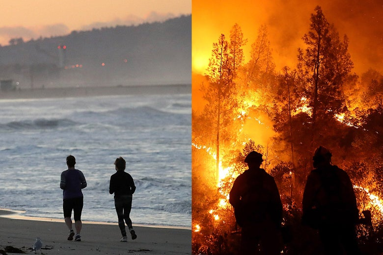 On the left, a man and a woman jog on a beach. On the right, a firefighters battle a blaze.