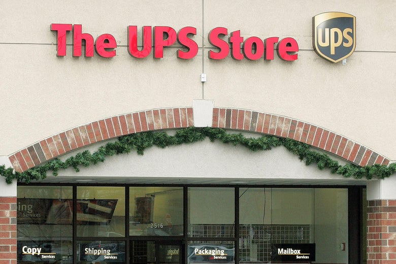 Storefront of the UPS Store in Glenview, Illinois.