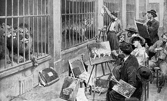 """Animal artists at the Jardin des Plantes, Paris. From the magazine """"L'Illustration"""", 7 August 1902."""