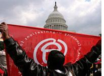 A rally in front of the U.S. Capitol, organized by ACORN.
