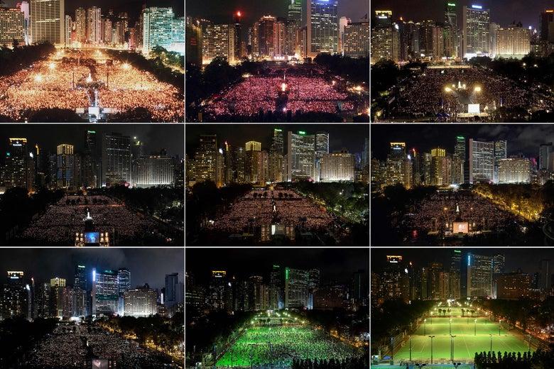 Photos of the Hong Kong Tiananmen vigil at Victoria Park over the years.