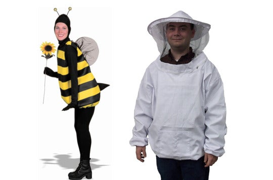 Couple dressed a bee and a beekeeper.