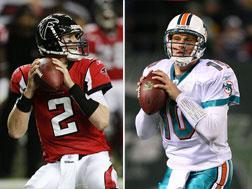 Matt Ryan of the Atlanta Falcons (left) and Chad Pennington of the Miami Dolphins. Click image to expand.