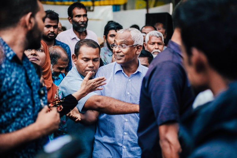 Maldives President-elect Ibrahim Mohamed Solih participates in celebrations.