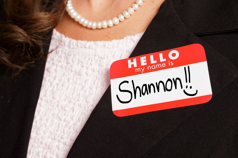 A woman with a nametag that says Shannon.